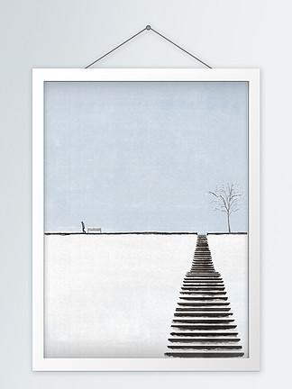 简约手绘静谧雪景装饰画