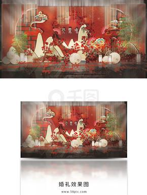 红色新中式大气婚礼工装效果图