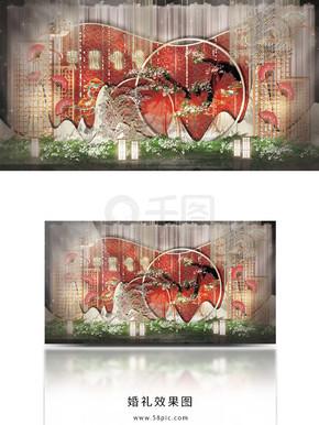 红色新中式复古大气婚礼工装效果图