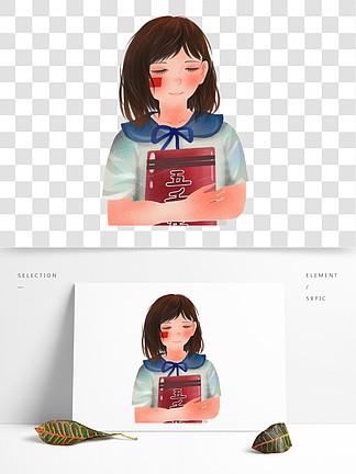 手绘拿着历史书的女孩人物插画