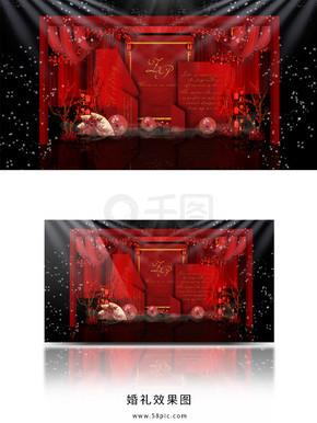 红色新中式婚礼效果图