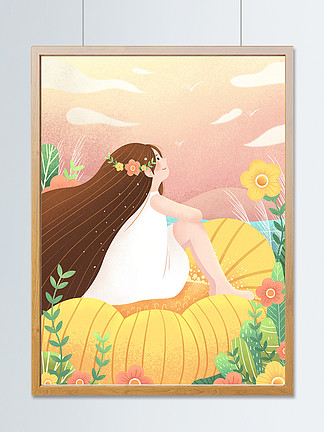 治愈系小清新插画花丛中眺望天空的少女