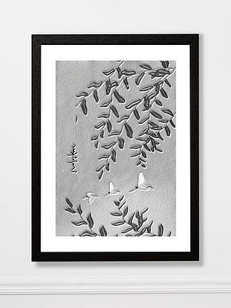 原创抽象意境黑色浮雕水墨装饰画