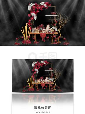 简约新中式婚礼红色甜品区