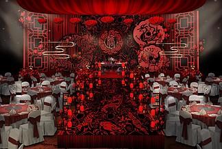汉代婚礼主舞台效果图