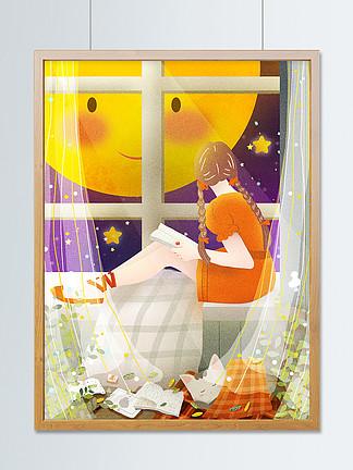 晚安治愈世界少女窗台看窗外月猫咪睡觉