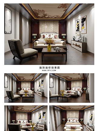大气新中式卧室装饰空间<i>效</i><i>果</i><i>图</i>