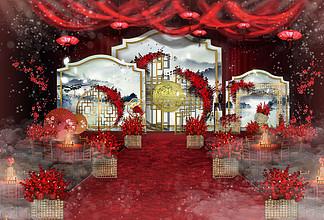 古典红色水墨素雅婚礼舞台效果图