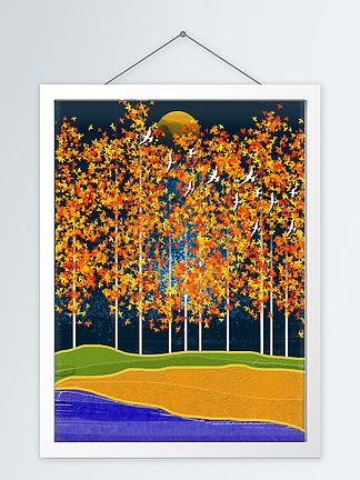 北欧立体抽象树林飞鸟客厅装饰画