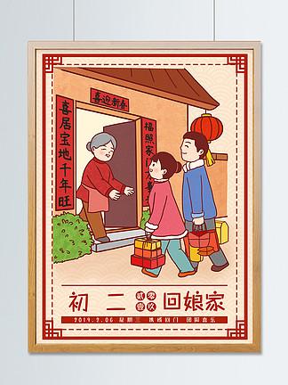 中国风春节习俗传统正月初二回娘家插画