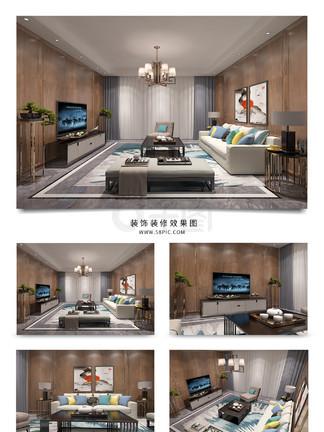 新中式木饰面板<i>电</i><i>视</i><i>背</i><i>景</i><i>墙</i>客厅<i>效</i><i>果</i><i>图</i>模型