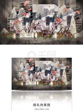 新中式复古简约大气婚礼工装效果图