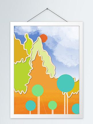 简约手绘糖果色边框山客厅装饰画