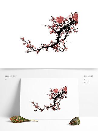 手绘中国风的梅花素材