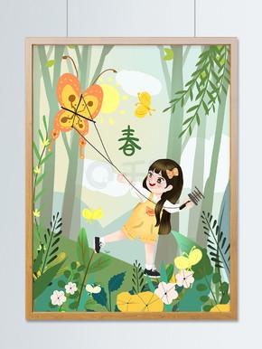 嫩绿色春天在山坡上放风筝的小女孩