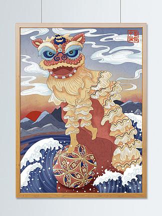 浮世繪舞獅中國風插畫地方習俗繡球喜慶紅色