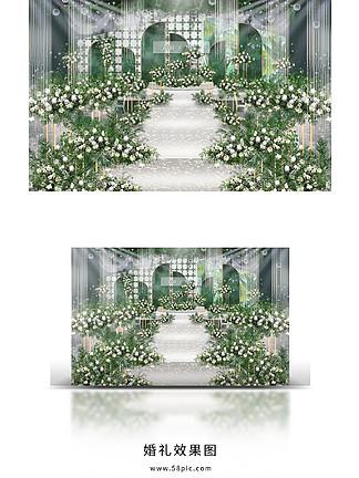 小清新白绿婚礼效果图