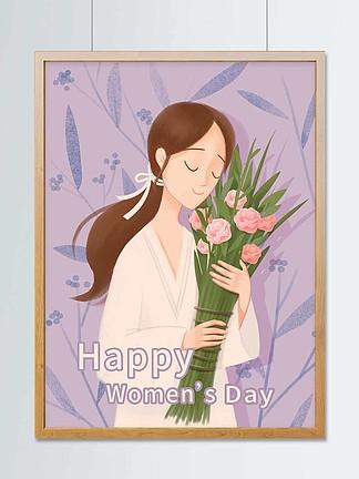 创意温馨唯美三八妇女节插画或贺卡配图