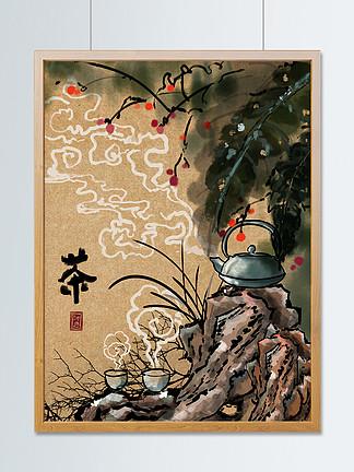 中国风水墨春茶节插画配图芭蕉叶假山祥云