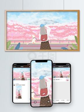 唯美清新日本樱花祭原创插画