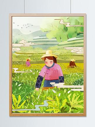 中國風水墨彩繪春茶節春天采茶女