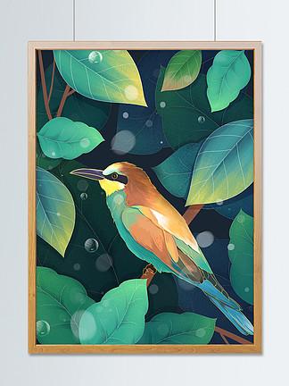 小清新插畫二十四節氣驚蟄鳥與綠植