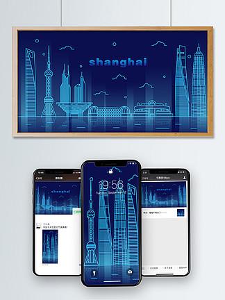夜光城市上海地標建筑可商用插畫