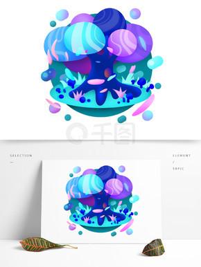 糖果渐融风格蓝紫色奇幻元素树植物渐变纹理