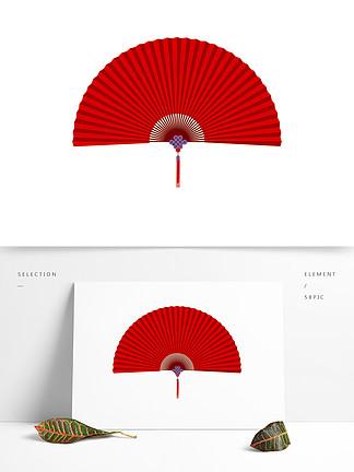 中国风红色喜庆扇子装饰素材