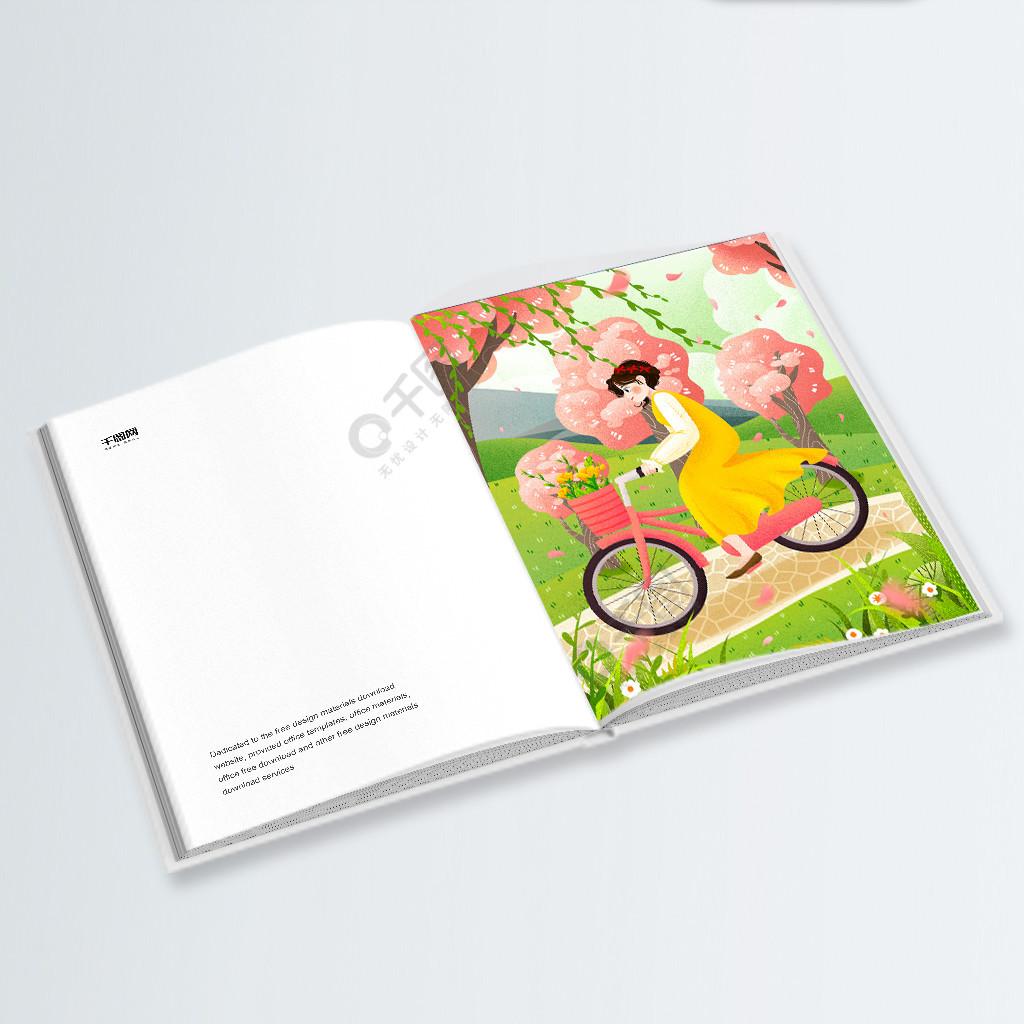 绿色环保出行骑自行车女孩小清新插画