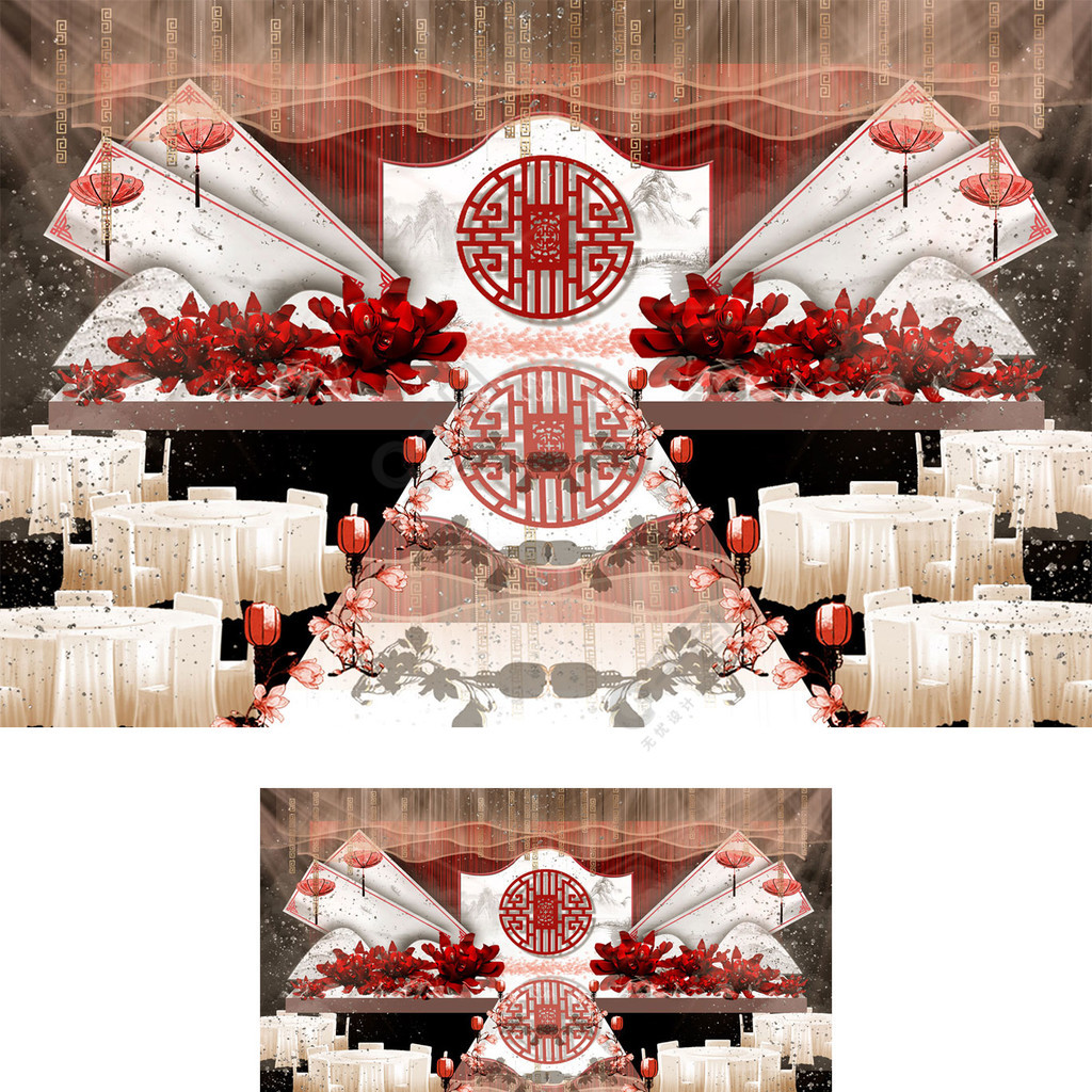 红色新中式红花大理石镂空婚礼效果图