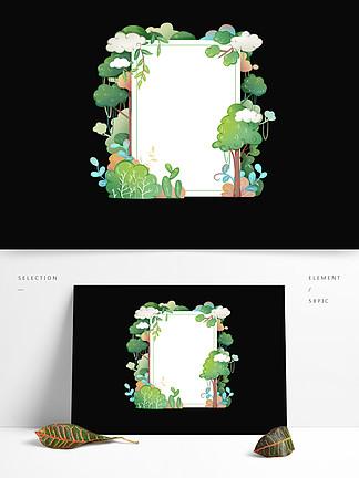 手绘植物边框元素