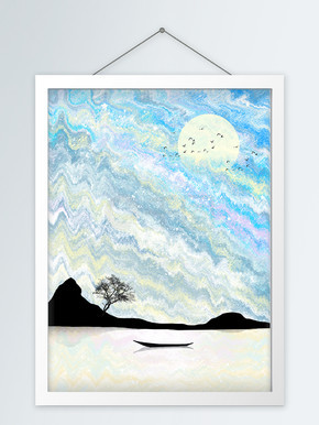 北欧手绘水彩蓝色系岛屿海岸客厅装饰画