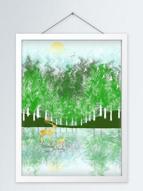 原创手绘现代绿色丛林金鹿客厅装饰画