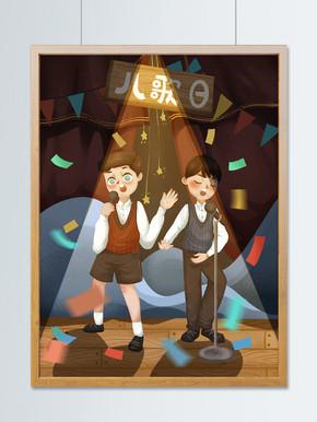 国际儿歌?#25307;?#30007;孩在舞台上唱歌可爱插画