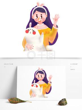 抱兔子的女孩元素素材