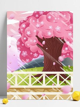 粉色樱花树插画背景