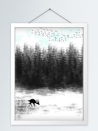 后现代黑白抽象森林飞鸟客厅装饰画