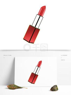 女士红色化妆品口红精致卡通手绘