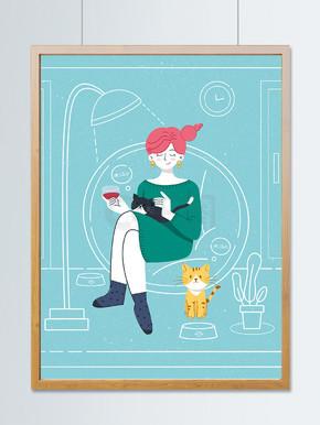 扁平简约虚实象生插画周末撸猫的少女
