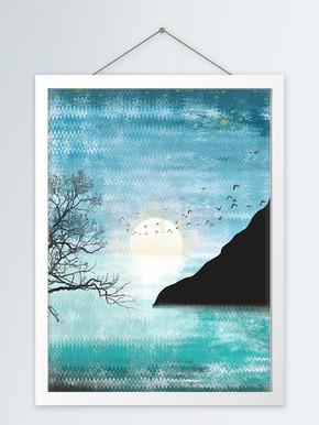 现代抽象手绘水彩岛屿日落客厅装饰画