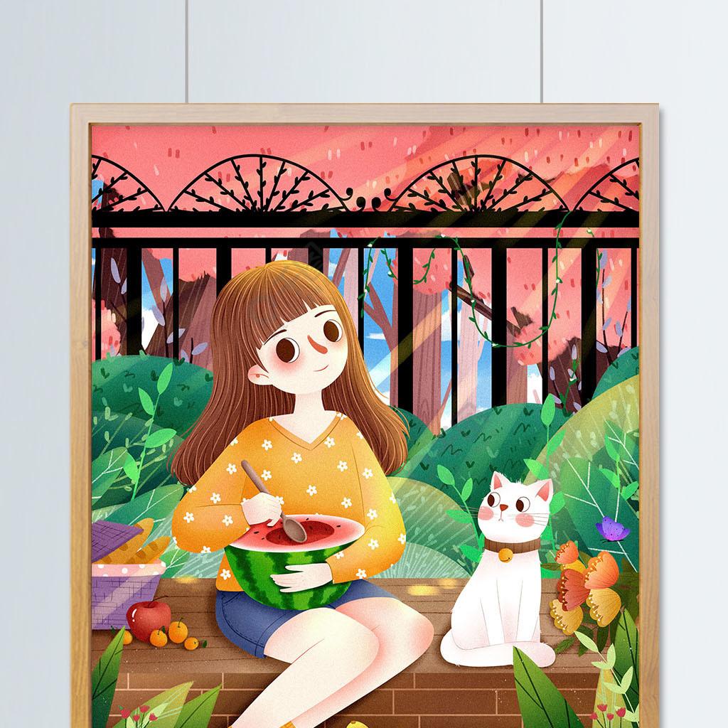小清新立夏节气女孩插画