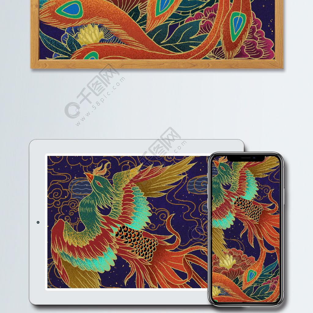 中国风复古国潮凤凰牡丹插画