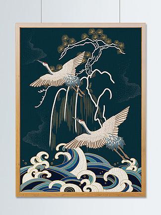 國潮中國風之仙鶴插畫
