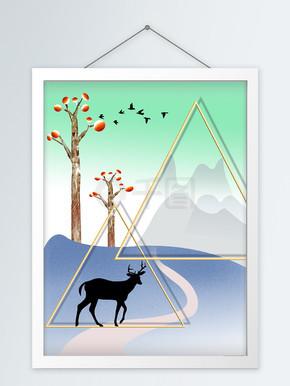 简约手绘创意剪影鹿客厅装饰画