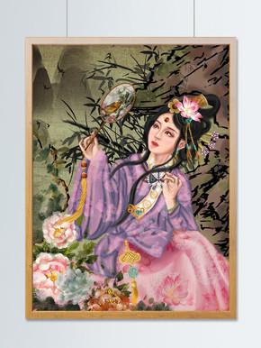 国潮古风中国风国画美人假山扇子花鸟复古