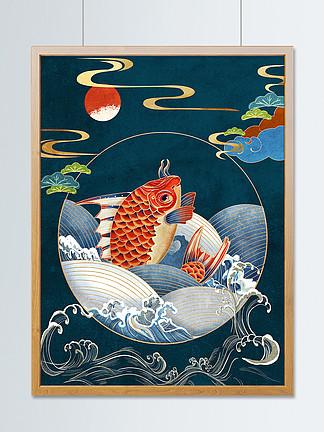 新中式国潮翻腾的鲤鱼复古传统纹样