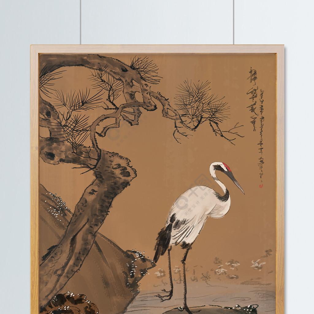 鹤寿图国潮中国风插画