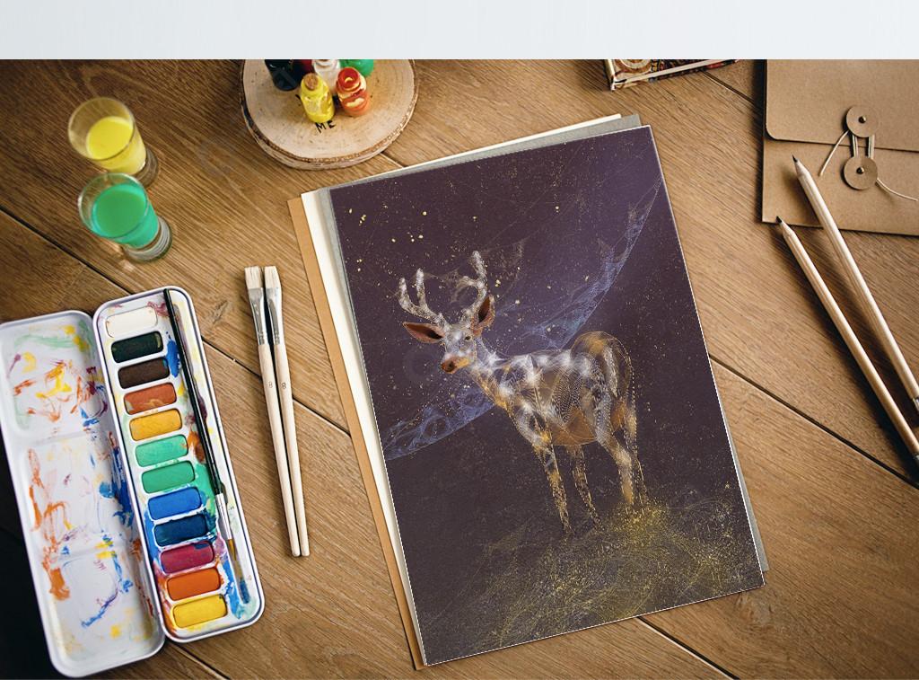 动物复古风野鹿独特透明感插画