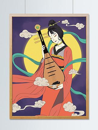 国潮古风琵琶女子插画